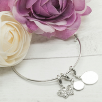 Silver plated personalised bracelet with butterfly charm