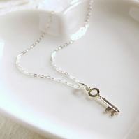 Sterling Silver Key to Love Necklace
