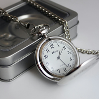 Personalised pocket watch presented in a tin