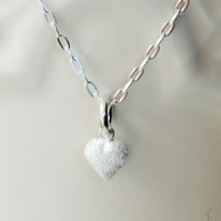 Sterling Silver Tiny Frosted heart necklace