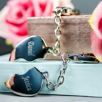 Personalised Joined hear keyring in presentation box