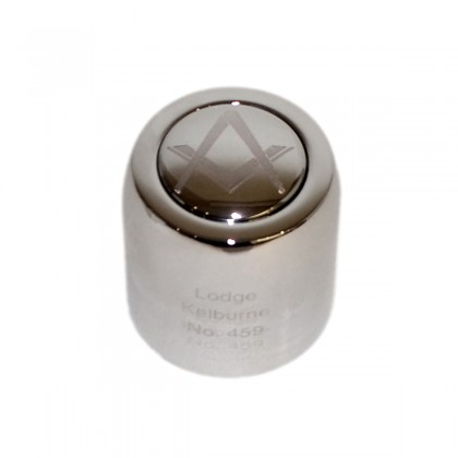 Champagne bottle stopper with Masonic logo