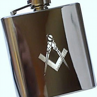 Masonic logo 6oz stainless steel hip flask with funnel in presentation box