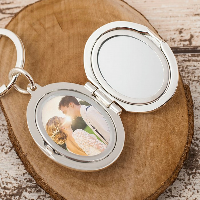 Personalised oval photo locket and mirror keyring
