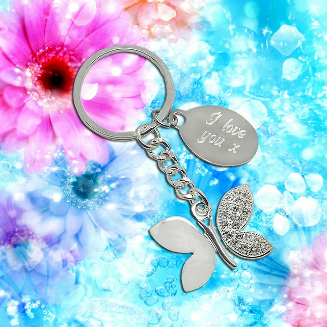 Personalised modern butterfly keyring with engraving tab