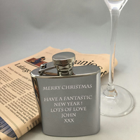 Personalised stainless steel 3oz modern hip flask