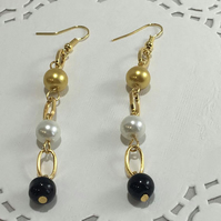 Gold Plated earings with Black and gold crystal beads and White Pearls