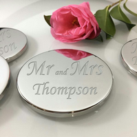 Personalised set of 4 table coasters in presentation box