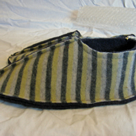 Handmade Felted Striped Slippers  Size 4-5 UK