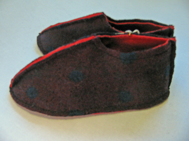 Handmade Felted Slippers - Size 3 - 4.5 UK