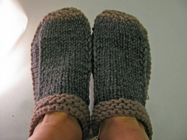 Hand knitted Slipper Bootees - Size 4 - 5 UK
