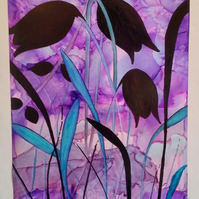 Black Tulips...Original Alcohol Ink painting