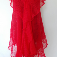 Hand knitted luxuries red mohair shawl. Elegant, light, warm.