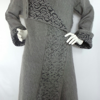 Hand made knitted king mohair grey coat with hood. Patterned, elegant coat.