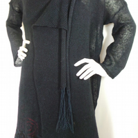 Hand made knitted black-navy blue patterned long jacket. Elegant.