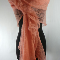 Hand made knitted luxuries mohair cream colour shawl. Warm, soft, elegant.