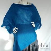 Knitted, Azure Blue Mohair Poncho . Gloves, Soft,  Warm, Elegant, Luxury