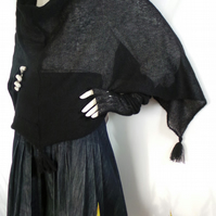 Knitted Black Mohair Poncho. Soft, Light, Elegant. Luxury clothes, Warp, Warm,