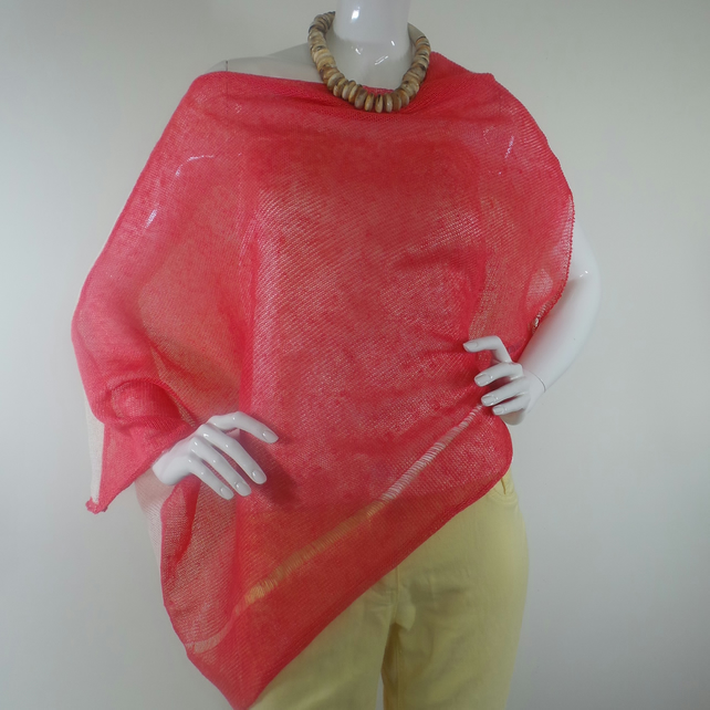 Poncho-Blouse, Knitted, Pure Linen, Four Colours: Orange, Cream, Gold, Yellow,