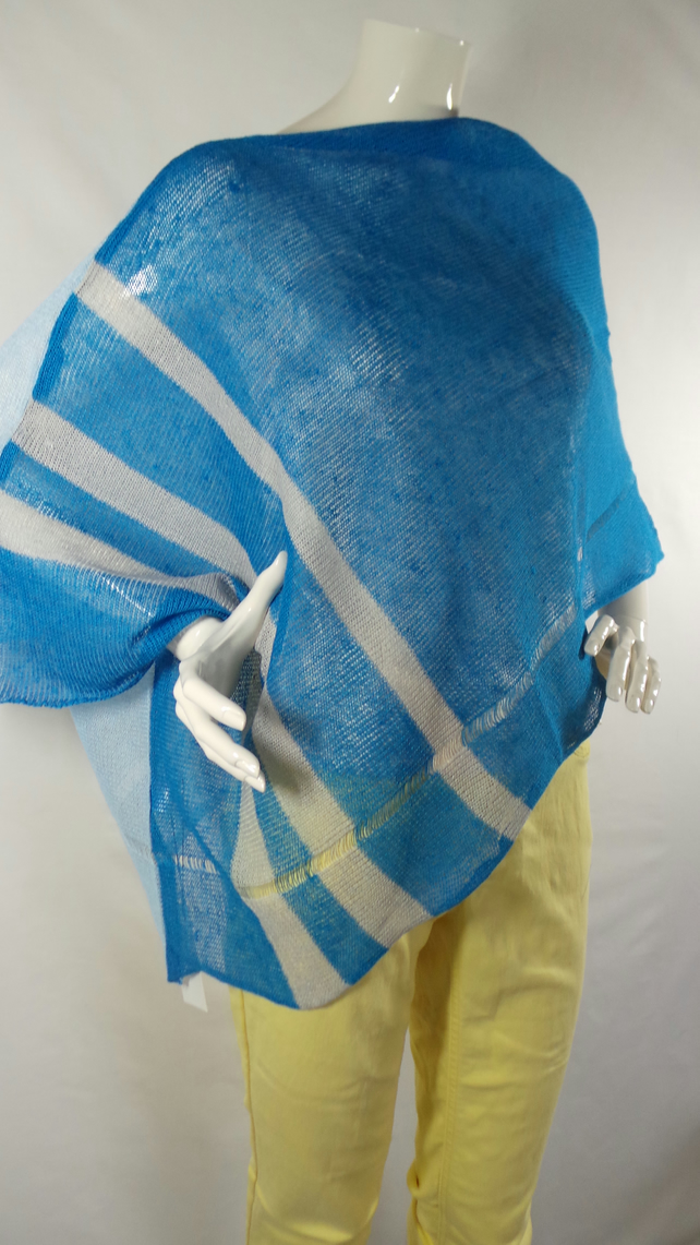 Poncho-Blouse, Handmade, Pure Linen, Knitted, Two colours: Grey & Blue, Elegant