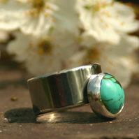 Contemporary Handmade Sterling Silver Wide Band Ring with Bezel Set Turquoise