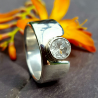 Contemporary 10mm Wide Band Sterling Silver Ring with 6mm White Topaz