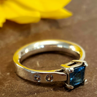 Stunning Handmade Ladies Ring with a Basket Set 5mm Square  London Blue Topaz