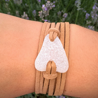 Welsh White Sea Glass & Caramel Faux Suede Bracelet