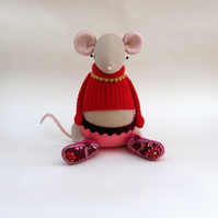Cream Fabric Mouse  -  Handmade plush mouse wearing woollen pullover and pants.