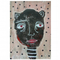 Original Outsider Folk Art Portrait Quirky Weird Surreal Unusual Paintings