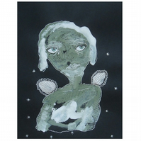 Angel Painting Woman Girl Female Black White Green Spiritual Girly Folk Art Gift