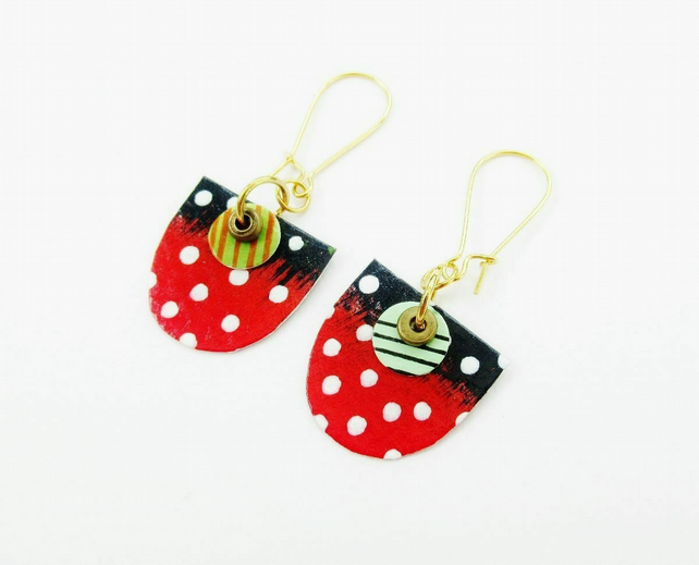 Colourful Earrings Unmatched Spotted White Red Black Non Matching Unique