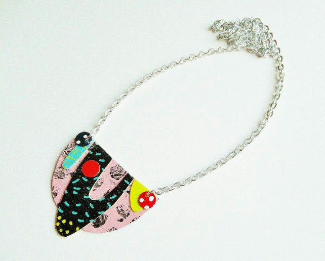 Bib Necklace Funky Quirky Arty Colourful Punk Statement Jewellery Pink Black