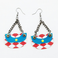 Harlequin Earrings Red White Blue Check Colourful Unique OOAK Lightweight Funky