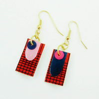 Unmatched Earrings Geometric Lightweight Funky Non Matching Red Blue Pink