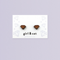 Wooden Diamond Earrings, Geometric Jewellery, Tiny Stud Earrings