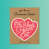 Eat Your Heart Out Sticker, Loveheart Sticker, Journal Stickers