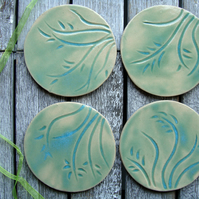 Ceramic Coasters, Hand made, set of 4, round, nature inspired design