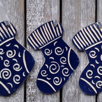 Christmas decorations, set 4 stockings, Ceramic, Hanging,handmade, cobalt,glazed
