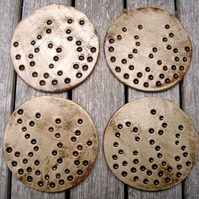 Ceramic Coasters, Hand made, set of 4, round, brown, nature, carved, rustic
