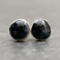 Dark Black Blue Ceramic Stud Earrings,Handmade, Sterling Silver