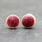 Raspberry pink ceramic stud earrings, Handmade, Sterling Silver