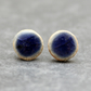 Navy blue ceramic Stud Earrings, Handmade, Sterling Silver