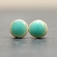 Turquoise bubble Ceramic Stud Earrings, Handmade, Sterling Silver