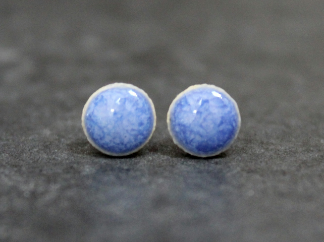 Glossy violet ceramic stud earrings, Handmade, Sterling Silver