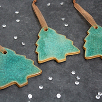 Teal Crackle Christmas tree decorations, Handmade Ceramic