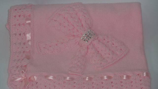 Beautiful Knitted Crochet Pink Baby Welcome Baby Blanket
