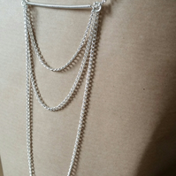Long Line Silver Chain Necklace