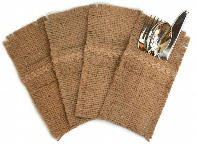 Hessian Cutlery Holders, set of 4.