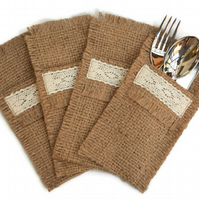 Hessian Cutlery Holders set of 4